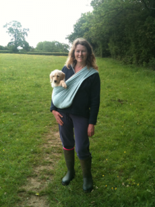 Carrying a puppy in a sling